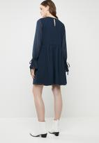 Brave Soul - Embroidered tie sleeve dress - navy