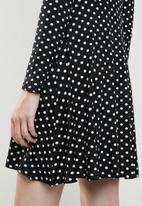 Brave Soul - Long sleeve v neck polka dot dress - black