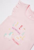 Baby Corner - Unicorn frilly short romper - pink