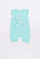 Baby Corner - Unicorn frilly short romper - green