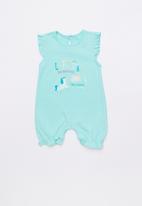 Baby Corner - Unicorn frilly short sleepsuit - green