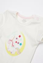 Baby Corner - Unicorn 2 piece top & short set - pink & white