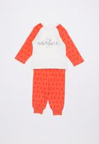 Baby Corner - Adventure printed pyjama set - red & white