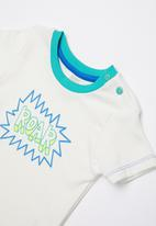 Baby Corner - Dino roar 2 piece printed tee & short set - white
