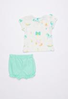 Baby Corner - Noise 2 piece printed tee & short set - white & Green