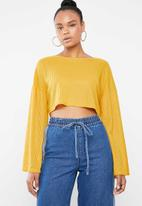 Missguided - Cut and sew crop sweat golden rod - yellow