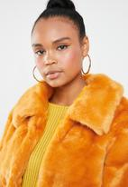 Missguided - Faux fur collar crop coat - yellow