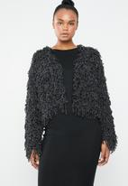 Missguided - Metallic loopy shaggy knitted cardigan - black & silver