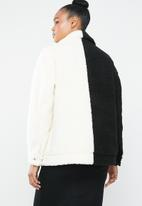 Missguided - Spliced zip through borg jacket - cream & black