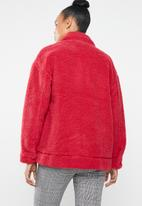 Missguided - Oversized borg zip through jacket - red