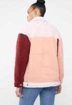 Missguided - Colour block oversized borg trucker jacket - multi