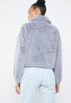Missguided - Faux fur bomber jacket - grey