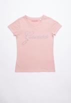 GUESS - Short sleeve script bling tee - pink