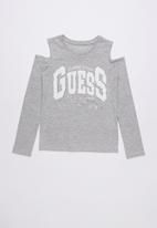 GUESS - Long sleeve cold shoulder varsity tee  - grey