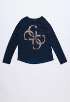 GUESS - Long sleeve quatro bling tee - navy