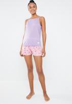 c(inch) - Cami & shorts sleep set - purple & pink