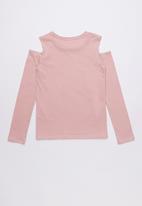 GUESS - Long sleevecold shoulder varsity tee  - pink