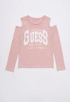 GUESS - Long sleeve cold shoulder tee - pink