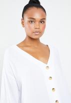 Superbalist - V-neck button front blouse - white
