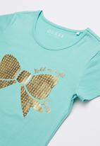 GUESS - Bow print tee - turquoise