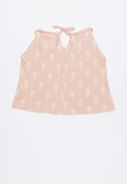 Lizzy - Anne  printed strappie tee - pink & yellow