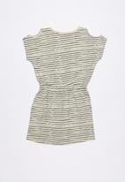 Lizzy - Isabelle cut out shoulder dress - grey & cream