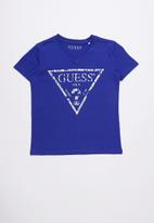 GUESS - Short sleeve cracked tri tee - blue