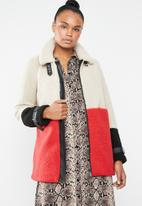 ONLY - Celina blocked sherpa mix coat - multi