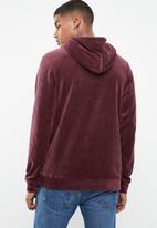 Jack & Jones - Serge velvet hoodie - burgundy