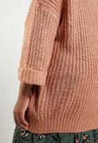 Brave Soul - Plus size 3/4 sleeve cardigan - tan
