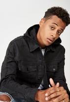 Cotton On - Hooded denim jacket - black