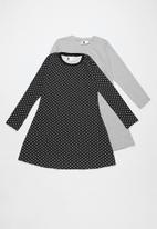 Rebel Republic - Kids long stripe sleeve dress - navy & grey