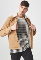 Cotton On - Sherpa trucker jacket - tan