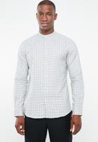 Selected Homme - Gab slim fit check shirt - white & black
