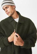 Cotton On - Teddy fleece zip up - khaki