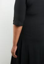 STYLE REPUBLIC PLUS - Turtle neck fit and flare dress - black