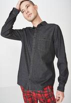 Cotton On - Distressed long sleeve denim shirt - black