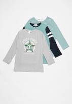 POP CANDY - Kids 3 pack long sleeve top - grey & green