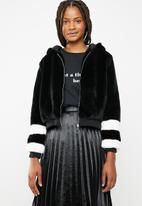 Brave Soul - Faux fur hoodie stripey jacket with ribbed cuffs - black