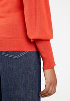 Brave Soul - Crew neck jersey with balloon sleeve - red