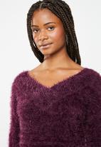 Brave Soul - Eyelash jersey with V-front and back - purple