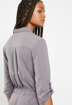 Brave Soul - Tie waist jumpsuit - grey