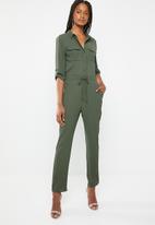 Brave Soul - Tie waist jumpsuit - green
