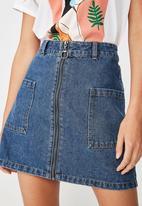 Cotton On - A line zip front denim skirt - blue