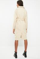 Missguided - Longline belted faux wool coat - camel