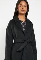 Missguided - Relaxed belted coat - black