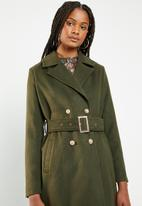 Missguided - Belted military format coat - khaki