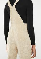 Missguided - Cord dungaree jumpsuit - beige