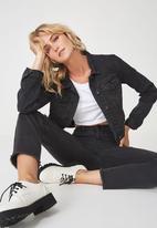 Cotton On - Girlfriend denim jacket - black