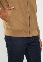 Superbalist - Lined faux suede bomber jacket - brown